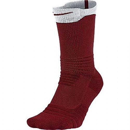 Nike Elite Versatility Crew Basketball Socks (Large, Velvet Brown (622) / White/University Red)