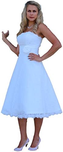 Unbekannt Brautkleid Spitze Wadenlang Tee Länge Hochzeitskleid XS S M L XL XXL XXXL XXXXL Braut Kleid Standesamt Weiß Ivory