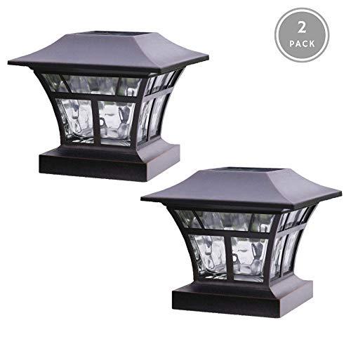NOMA Solar Post Lights | Waterproof Outdoor Cap Lights for 4 x 4 Wooden or Vinyl Posts, Deck, Patio, Garden, D
