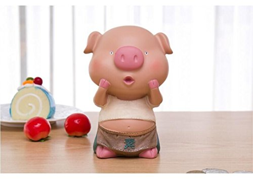 S-Size Kawaii Cute Pig Piggy Bank Resin Personalized Baby Nursery Decor (Pout) by GH8
