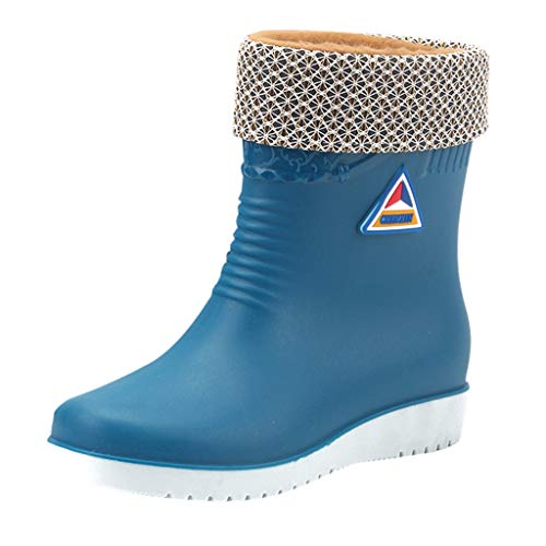 Women's Flats Non-Slip Round Toe Athletic Shoes Waterproof Galoshes Rain Boots ()