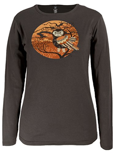 Autumn Walnut (Green 3 Autumn Owl Long Sleeve Shirt (Walnut) - 100% Organic Cotton Womens T Shirt, Made in The USA (Medium))