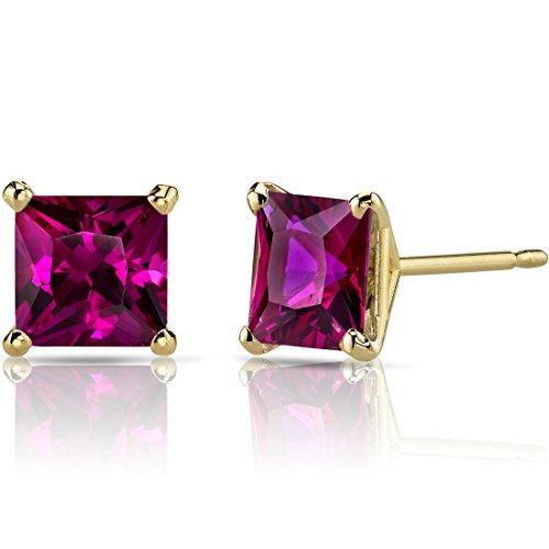 (14K Yellow Gold Princess Cut 3.00 Carats Created Ruby Stud Earrings)