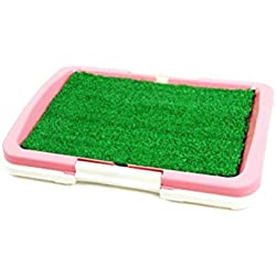 OWIKAR Pet Toilet Mesh Tray Pet Dog Toilet Indoor Doggy Training Potty Patch Training Pad Dog Training Pet Pad Holder for Small Dogs Cats (Pink)
