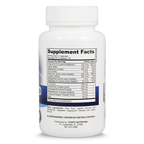Thyroid Support Supplement with Iodine- Metabolism, Energy, Focus with Vitamin B12 Complex, Zinc, Selenium, Ashwagandha, Copper, L-Tyrosine & More Natural Formula - Non GMO – 30 day Supply