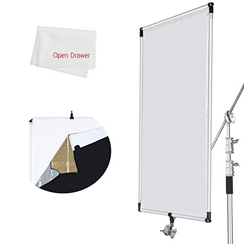 (OPEN DRAWER Sun Scrim 2.95 x 3.9 feet / 35 x 47 inch 5in1 Panel Sun Scrim Translucent Soft Cloth and Gold/Silver/Black/White Diffuser Reflector Aluminum Alloy Frame Compatible Video Photography )