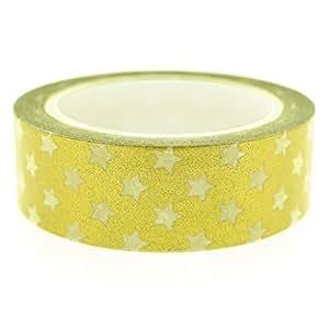 METALLIC GOLD Paper Washi Tape Masking Adhesive Roll Decorative Card Craft (White Star)