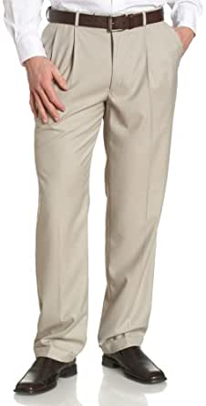 Louis Raphael ROSSO Men's Poly Viscose Super Twill Hidden Extension Pleated Pant,Stone,32x30
