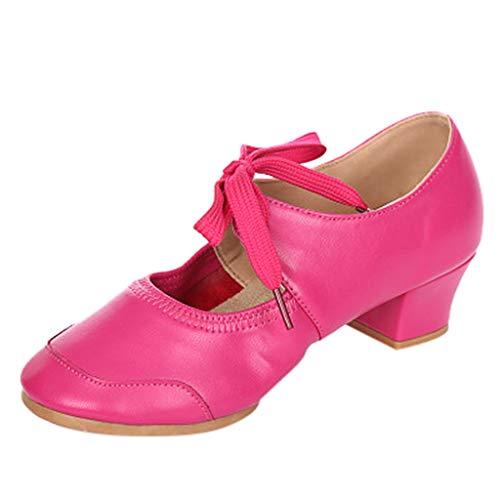 (Lelili Women Dancing Rumba Waltz Prom Ballroom Latin Ballet Dance Singles Shoes Leather Square Heel Shoes)