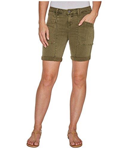 保存する結紮苛性[リヴァプール] Liverpool レディース Kylie Cargo Shorts with Flat Patch Pockets on Pigment Dyed Slub Stretch Twill in Olive Night パンツ [並行輸入品]