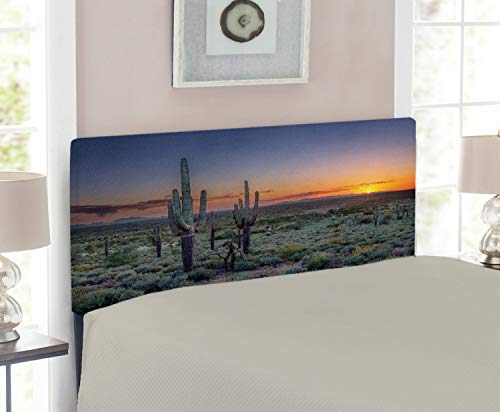 Lunarable Saguaro Headboard for Twin Size Bed, Sunset Over The Phoenix Valley in Arizona Mountain State Park, Upholstered Decorative Metal Headboard with Memory Foam, Sage Green Orange Night Blue ()