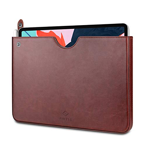 Fintie Sleeve for iPad Pro 11 2018, Slim Fit Vegan Leather Protective Cover Carrying Case Bag Pouch with Stylus Loop, Also Compatible with iPad 7th Gen 10.2 2019/ iPad Air 10.5 Tablets, Brown