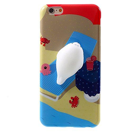Docooler Caja del Teléfono del Silicón de 3D Squishy Playa de Fondo Sellado Mobliephone Cubierta Trasera Se Aplica al Caso de iPhone6 / 6S Lindo iPhone 6&6s