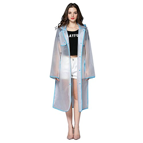 Hzjundasi Aire Ropa Transparent Excursionismo Fashionable Deportes Azul Portable Mujer Al Poncho Encapuchado Eva Impermeable Libre Largo Chubasquero 8q8W7r4w