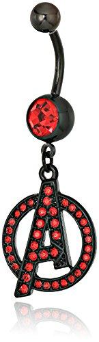 Marvel Comics Red Cz Avenger Logo Black Pvd Plated Dangle Charm Navel Rings