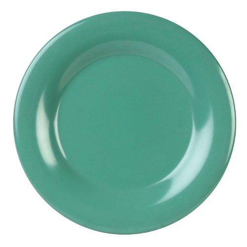 Excellanté Green Melamine Collection 12-Inch Wide Rim Round Plate, Green, - Rim Melamine Round Wide Plate