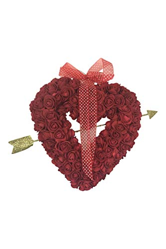One Holiday Way 19 Inch Rose Heart Wreath with Cupid's Arrow – Valentine's Day Wall Hanging Decoration