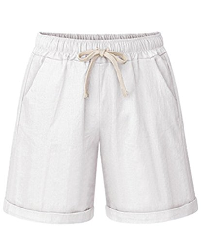 Vcansion Women's Drawstring Elastic Waist Cotton Stretch Lounge Shorts White US 12-14/Asian ()