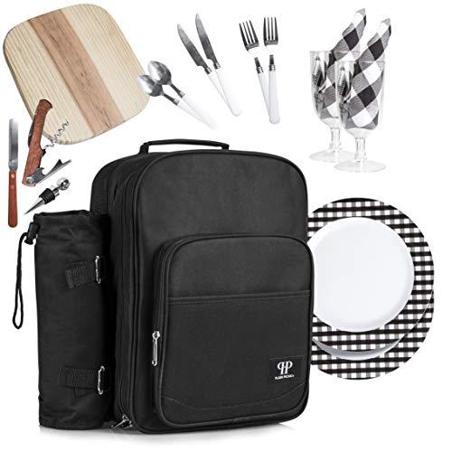 Plush Picnic - Picnic Bag Backpack/Insulated Picnic Basket, Detachable Bottle/Wine Holder, Fleece Blanket, Plates and Cutlery Set (2 Person) (Picnic 2 Set For)