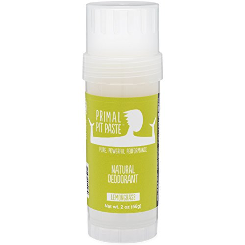 Primal Pit Paste All Natural Lemongrass Deodorant – Aluminum Free, Paraben Free, Non-GMO for Women and Men – BPA Free 2 Oz Stow-and-Go Stick – Made with Essential Oils (Lemongrass Natural)