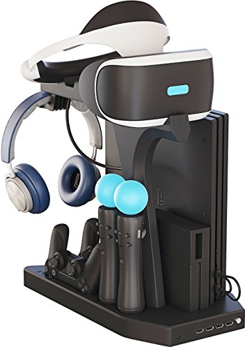 Skywin PSVR Charging Display Stand - Showcase, Cool, Charge, and Display your PS4 VR - Playstation 4 Vertical Stand, Fan, Controller Charger and Hub 1