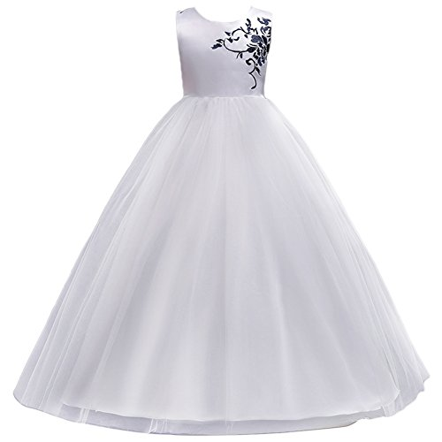 IWEMEK 5-15T Girls Tulle Bridesmaid Dress Embroidered Flower Lace Pageant Party Wedding Prom Floor Length Dance Maxi Gown