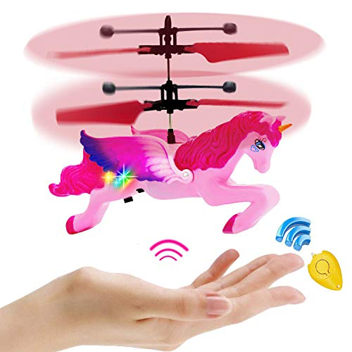 - Unicorn Toys Gifts for Girls 6 Years Old,Pink Mini RC and Hand Controlled Flying Helicopter Unicorn Fairy Toy Doll for Birthday(mini flying Unicorn)