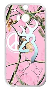 777Life Protective Phone Case Cover for HTC One M8 Browning Cutter Logo Pink Camo Peace Sign