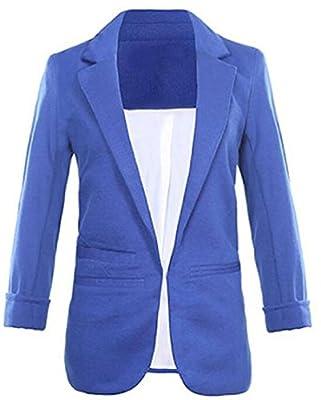 Faddish Women's Cotton Basic Boyfriend Ponte Rolled Blazer Jacket Suits