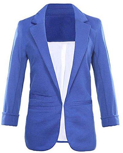 Faddish Women's Cotton Basic Boyfriend Ponte Rolled Blazer Jacket Suits Blue ()