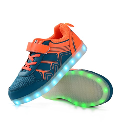 DoGeek Zapatos Led Niñas Deortivos Para 7 Color USB Carga LED Luz Glow USB Flashing Zapatillas niño (Elegir 1 tamaño más grande) naranja