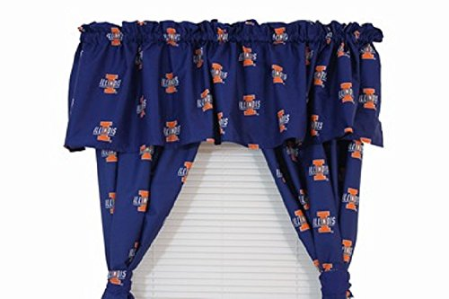 Illinois Fighting Illini - Set of (2) Printed Curtain Valance/Drape Sets (Drape Length 63'') To Decorate Two Windows - Save Big By Bundling! by College Covers