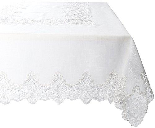 Violet Linen Imperial Embroidered Vintage Lace Design Oblong/Rectangle Tablecloth, 70