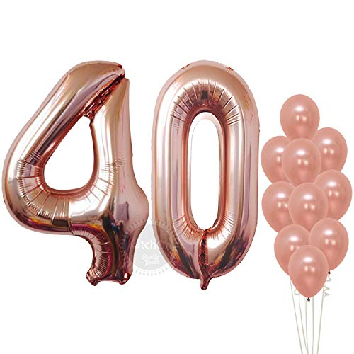 Rose Gold 40 Number Balloons - Large, 4 and 0 Mylar Rose Gold Balloons, 40 Inch | Extra Pack of 10 Latex Baloons, 12 Inch | Great 40th Birthday Party Decorations| 40 Year Old Rose Gold Party Supplies