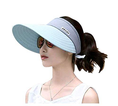Sun Visor Mesh (Sun Visor Hats for Women, Large Brim UV Protection Summer Beach Cap, 5.5''Wide Brim (Blue & Pink))