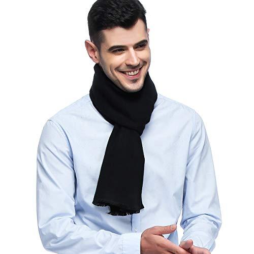 (HOYAYO Mens Classic Cashmere Warm Long Winter Scarf(Black))