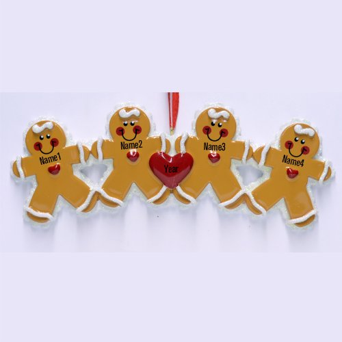 Gingerbread Family 4 Personalized Christmas Tree ()
