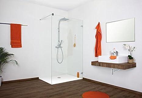 Vidrio, Walk In – Mampara de ducha, hasta 120 x 220 cm (BxH), ángulo de pared ovalado, vidrio templado de 10 mm: Amazon.es: Bricolaje y herramientas