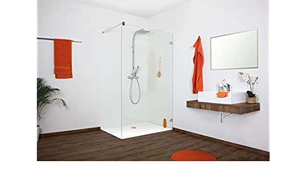 Vidrio, Walk In – Mampara de ducha, hasta 100 x 220 cm (BxH), ángulo de pared ovalado, vidrio templado de 10 mm: Amazon.es: Bricolaje y herramientas