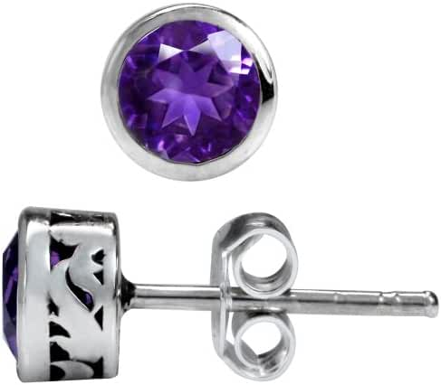 Natural February Birthstone African Amethyst 925 Sterling Silver Stud Earrings