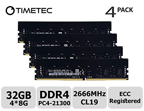 (Timetec Hynix 32GB KIT (4x8GB) DDR4 2666MHz PC4-21300 Registered ECC 1.2V CL19 1Rx8 Single Rank 288 Pin RDIMM Server Memory RAM Module Upgrade (32GB KIT (4x8GB)))