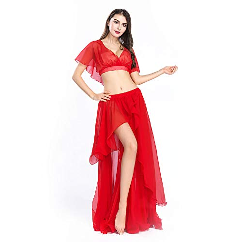 ROYAL SMEELA Chiffon Belly Dance Costume Set for Women, One Size, Red Belly Dancing Skirt Dance Dress, 11 -