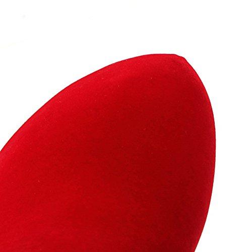 AllhqFashion Mujeres Caña Baja Cremallera Esmerilado Tacón Alto Puntera Redonda Botas Rojo
