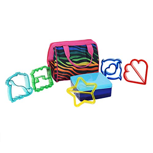 Lunch Box Tote to School Bag Bundle with Sandwich Shape Cutters and Lunch Containers, 3 items (Zebra Spectrum/Access)