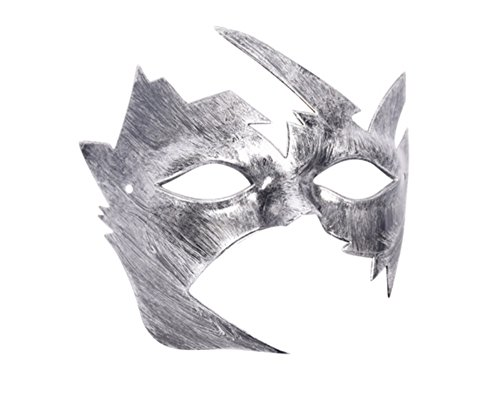 JewelQueen Silver Kid's Krish Mask Retro Masks Masquerade Mask Halloween Party (Jewels On Face For Halloween)