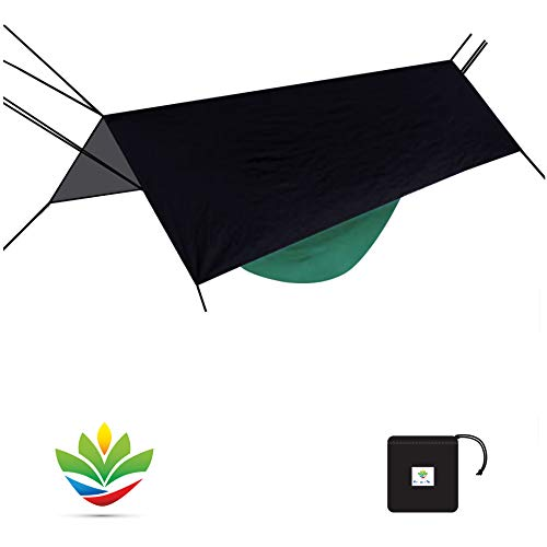 Hammock Bliss Extra Large Rain Fly - Waterproof Tent Tarp, Rain Fly and Hammock Shelter To Cover Your Hammock & Your Gear - Massive Coverage To Make Hammock Camping A Dry Rain Free Experience