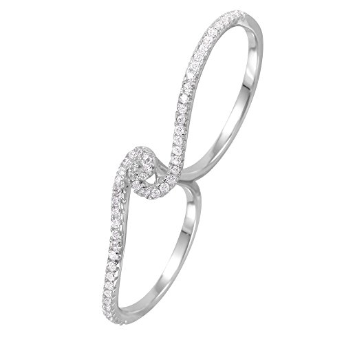 (Clear Pave Set Cubic Zirconia Two-Finger Swirl Ring Rhodium Plated Sterling Silver Size 9)
