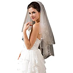 "Passat Pale Ivory 2 Tiers 36""Fingertip Length Wedding Veil Sequin Pearl Edge Luxury Crystals Beaded Bling Bridal Veil H62"