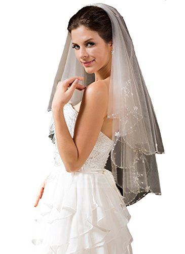 Passat 2M/3M/5M/10M Wedding Veil Sequin Pearl Edge Luxury Crystals Beaded Bling Bridal Veil H62