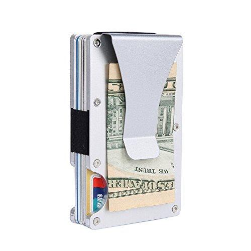 Minimalist Aluminum Wallet, Slim Money Clip Metal Wallet RFID Front Pocket Wallet...